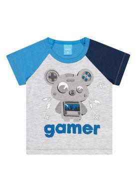 camiseta meia malha infantil masculina gamer mescla kamylus 12136