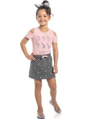 conjunto blusa e saia infantil feminino unicorn rosa kamylus 10337