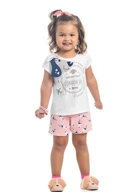 conjunto blusa e short infantil feminino london branco kamylus 10286