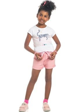conjunto blusa e short infantil feminino tiger branco kamylus 10311