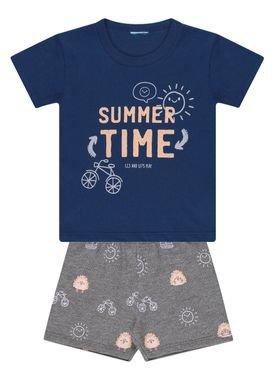 conjunto camiseta e bermuda bebe masculino summer time kamylus 12090