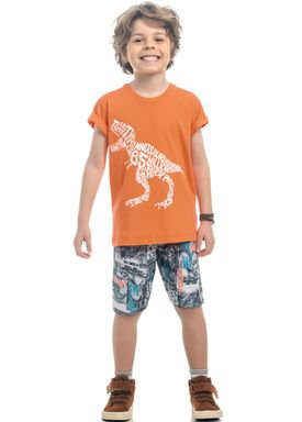 conjunto camiseta e bermuda infantil masculino dino laranja kamylus 12150