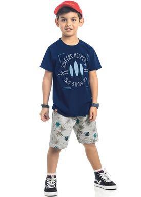 conjunto camiseta e bermuda infantil masculino surfers marinho kamylus 12163