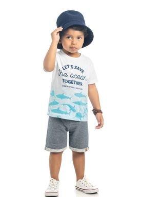 conjunto camiseta e bermuda infantil masculino the ocean branco kamylus 12140